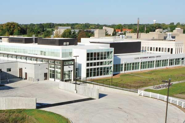 Newly constructed large-animal facility at Iowa State's Dr. W. Eugene and Linda Lloyd Veterinary Medical Center. Expansion of the small-animal facility will begin in fall 2009.