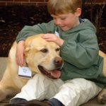 Adam Regan pets his family's 8-year-old Labrador retriever, Charlie, who was being treated for cancer at Purdue's School of Veterinary Medicine.