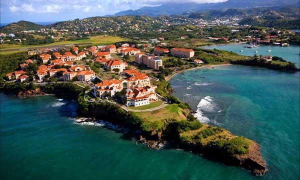 An aerial view of the True Blue campus at St. George's University on the southwest corner of the island of Grenada.