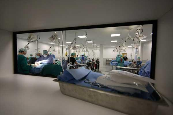 The view of the surgical suite through an observation window.