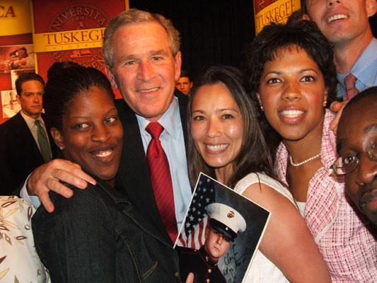 President George W. Bush visits with Tuskegee veterinary students in 2005.