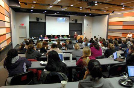 Students attend a panel discussion in the state-of-the-art Vernon and Shirley Hill Pavilion on Penn Vet's Philadelphia campus.