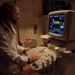 Dr. Jonathan Abbott reviews digitally stored echocardiographic images in the Veterinary Teaching Hospital.