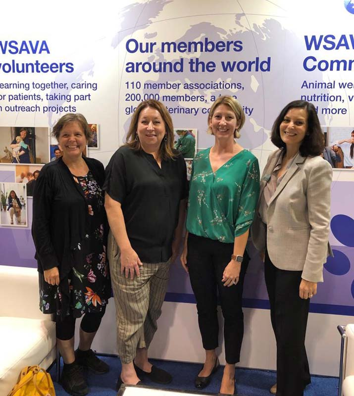 From left: WSAVA's Animal Wellness and Welfare Committee co-chairs Tess Kommedal, DVM, and Melinda Merck, DVM; Ruth Garcia, COO of Fear Free; and Arpita Bhose, CEO of WSAVA.