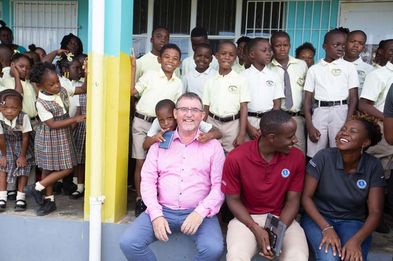 Ross University School of Veterinary Medicine (RUSVM) Dean Sean Callanan meets with students at the Bronte Welsh Primary School in the Federation of St. Kitts and Nevis.
