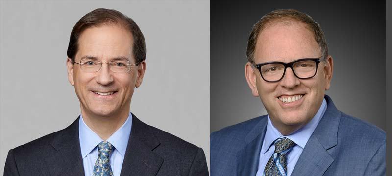 Jonathan Ayers (left) has stepped down as president and CEO of IDEXX Laboratories and will be succeeded by Jay Mazelsky (right).