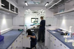 Inside the mobile unit.