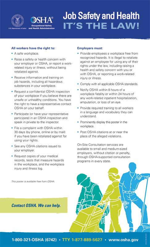 Download a copy of OSHA's free workplace poster at bit.ly/3bodlMp and display it in a conspicuous place where workers can see it.