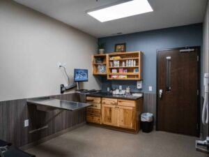 Dog and cat exam rooms are located at opposite sides of the clinic, helping to keep treatment areas species-specific.