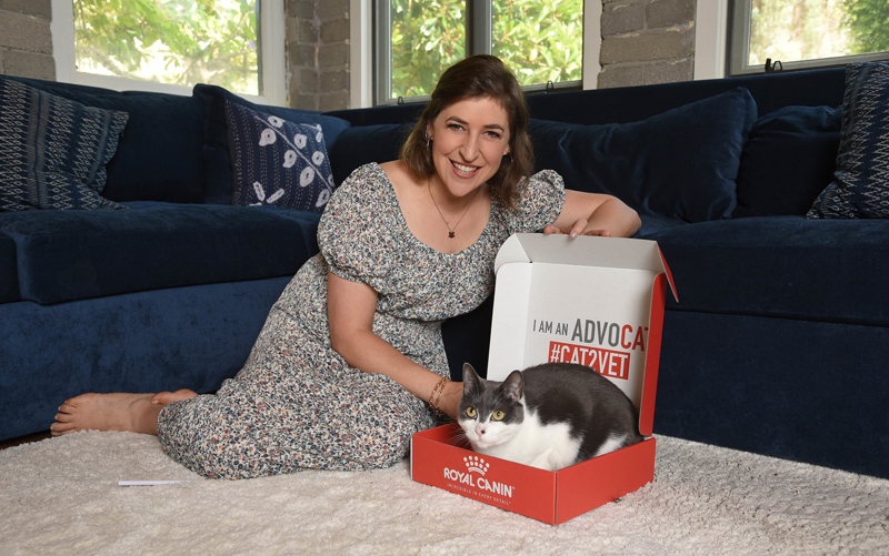 Mayim Bialik, pictured with her cat Addie, joined Royal Canin's Take Your Cat to the Vet campaign to remind cat owners about the importance of regular clinical visits.