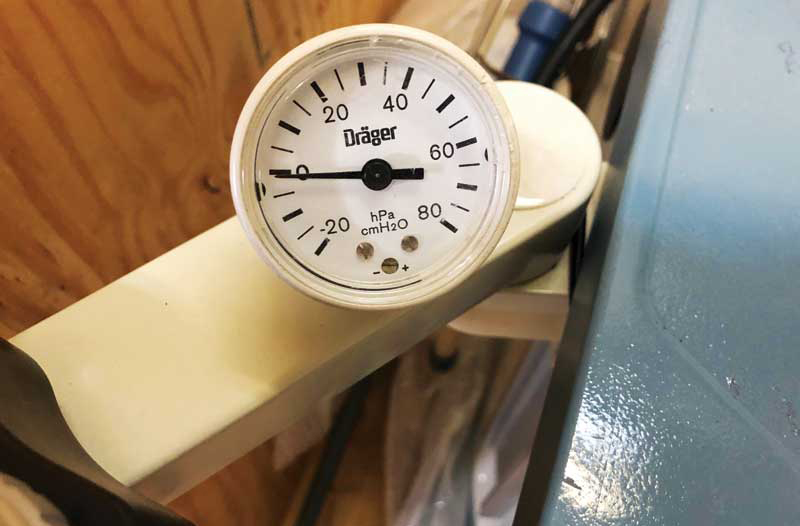 To ensure optimal anesthesia levels, conduct a pressure test every morning on your anesthesia machine before the first scheduled surgery. This should include watching the pressure manometer for any indication of a leak. Photos courtesy Georgian Anesthesia