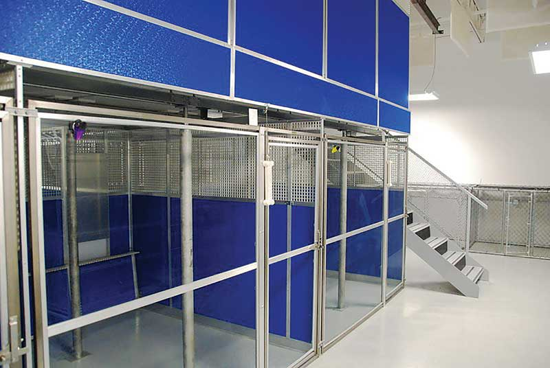 Double-deck systems provide two stories of kennels by using an above-floor system for the top runs. This configuration can be ideal in areas where land is expensive, making it more beneficial to expand up rather than out.