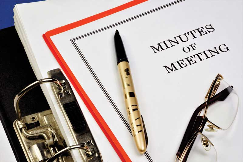 When taking the meeting's minutes, act as a keeper of ideas, action items, and outcomes for future reference. Keep a physical copy of the agendas and minutes in a notebook available to everyone.